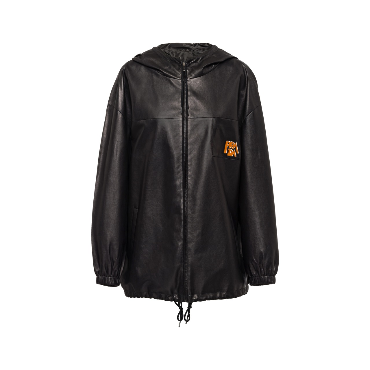 Nappa leather hooded jacket
