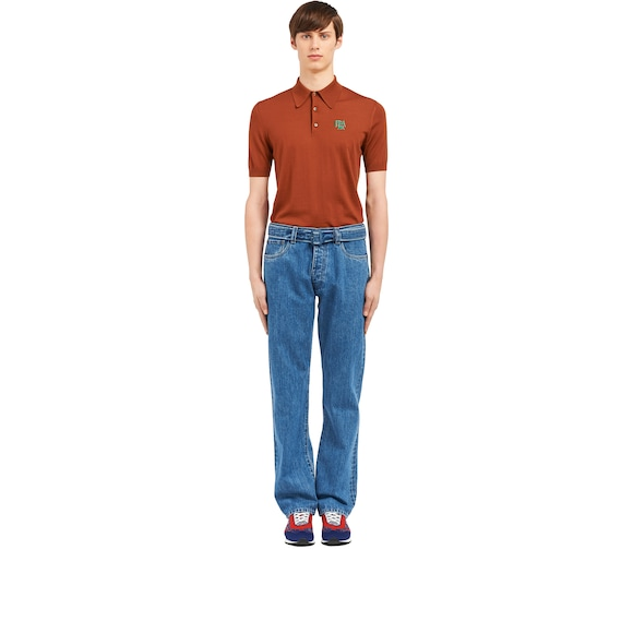 Cotton denim jeans with belt