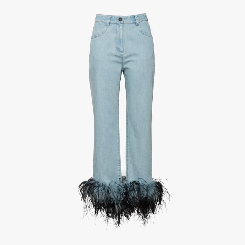 鸵鸟毛饰边牛仔裤