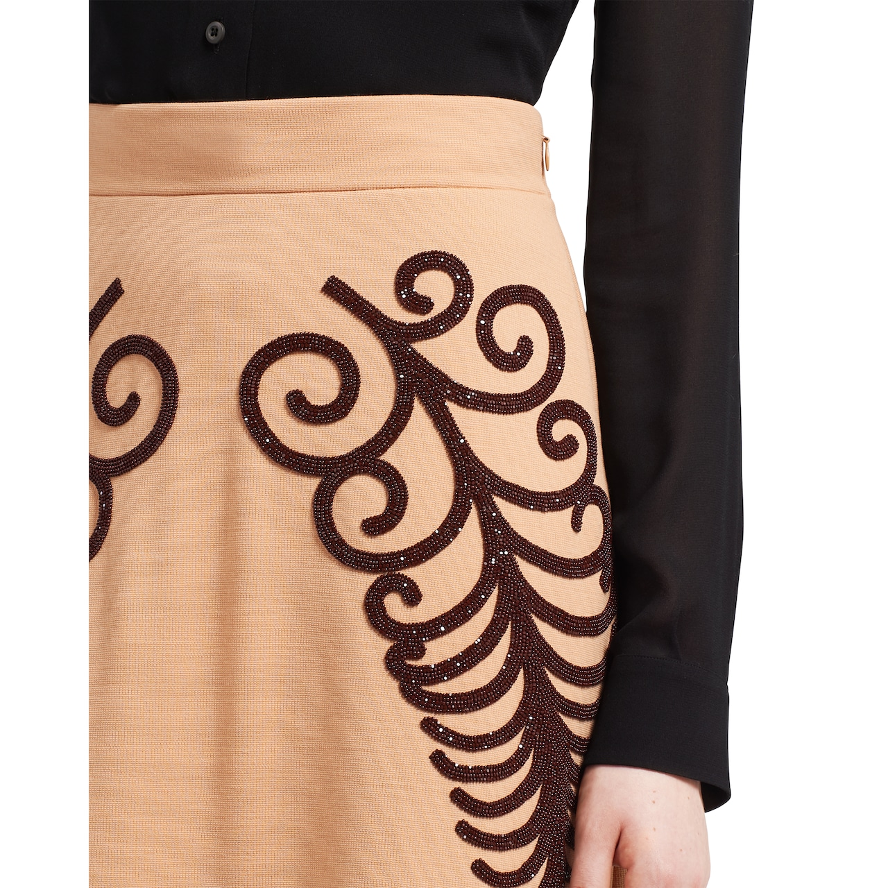Prada Punto Stoffa knit skirt with beaded embroidery 5