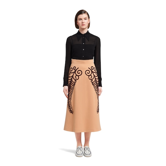 Prada Punto Stoffa knit skirt with beaded embroidery 3