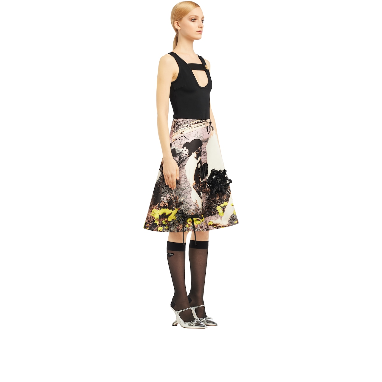 Duchesse skirt with human motif