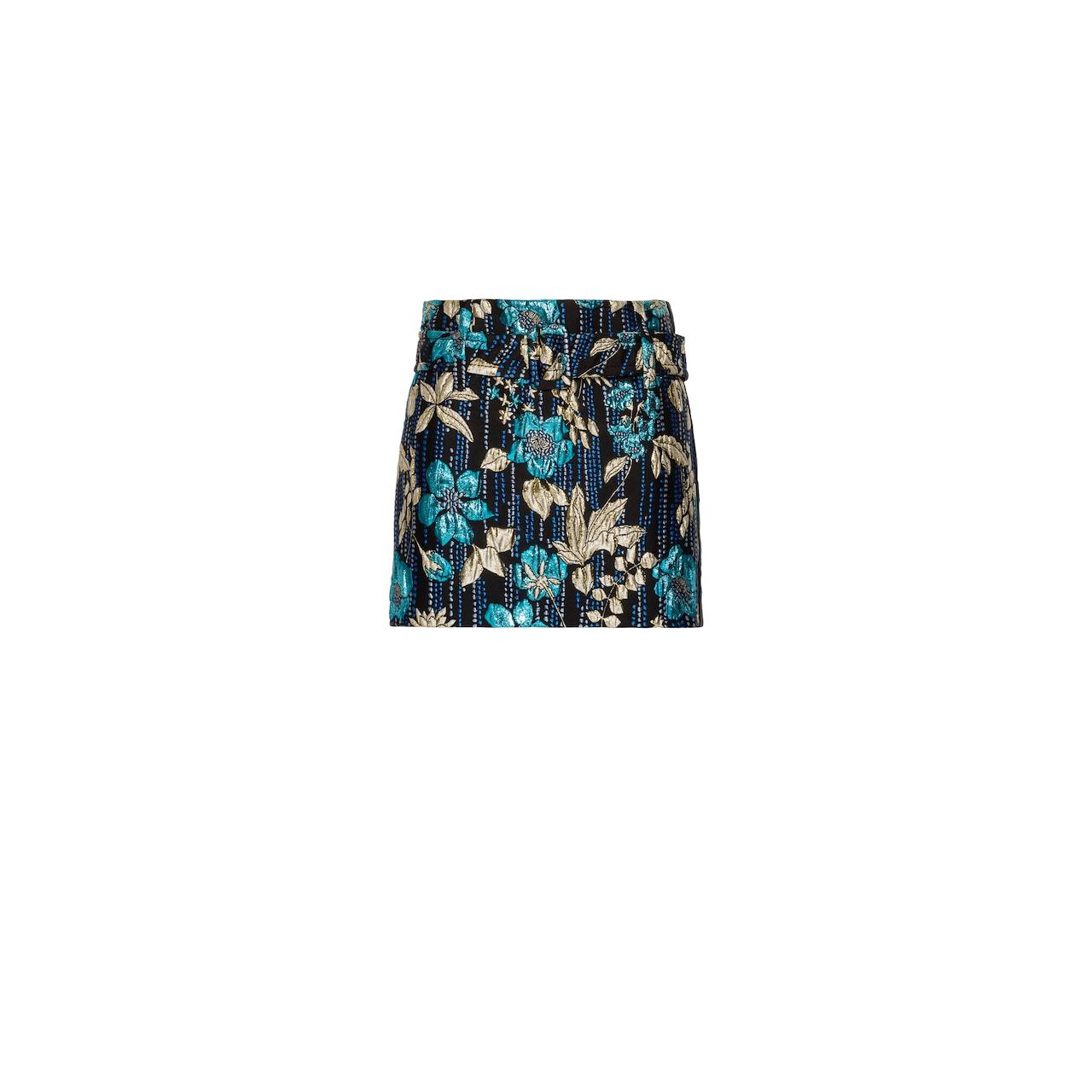 Cloqué miniskirt with floral motif