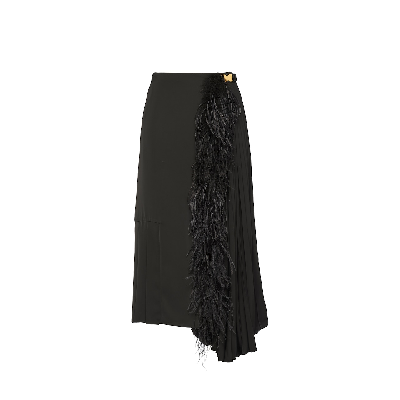 Fluid twill skirt with feathers
