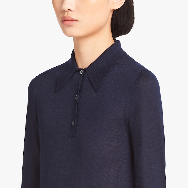 Worsted cashmere polo shirt