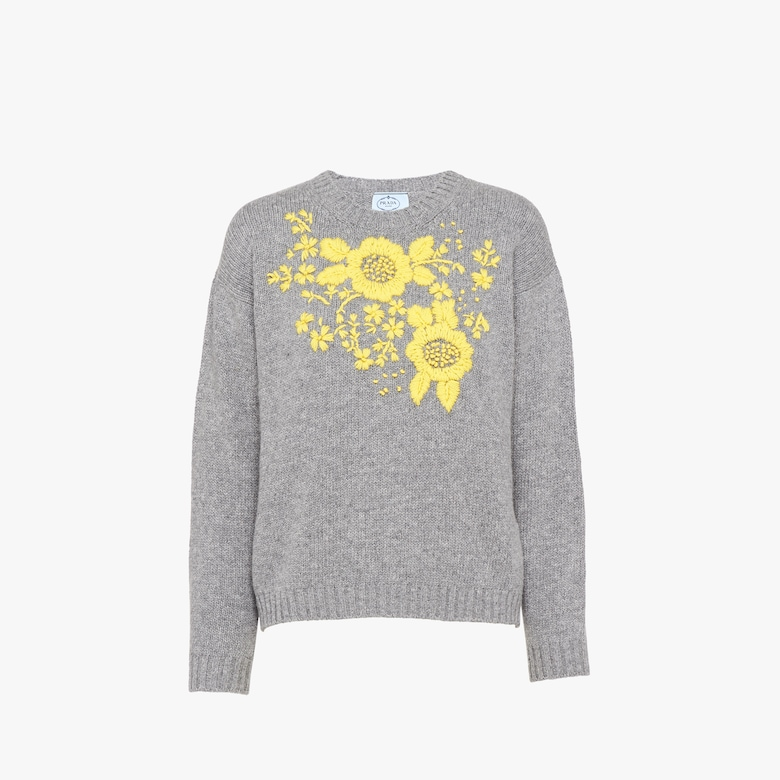 Prada Embroidered wool and cashmere crew-neck sweater - Woman