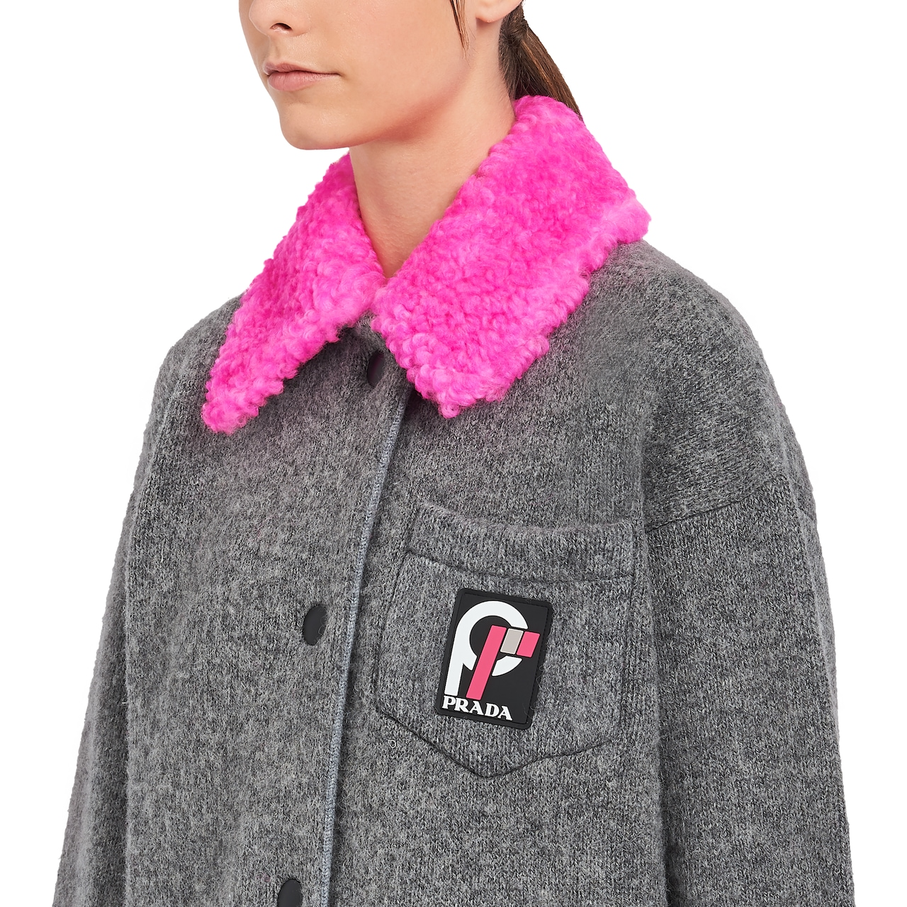 Cardigan with shearling collar