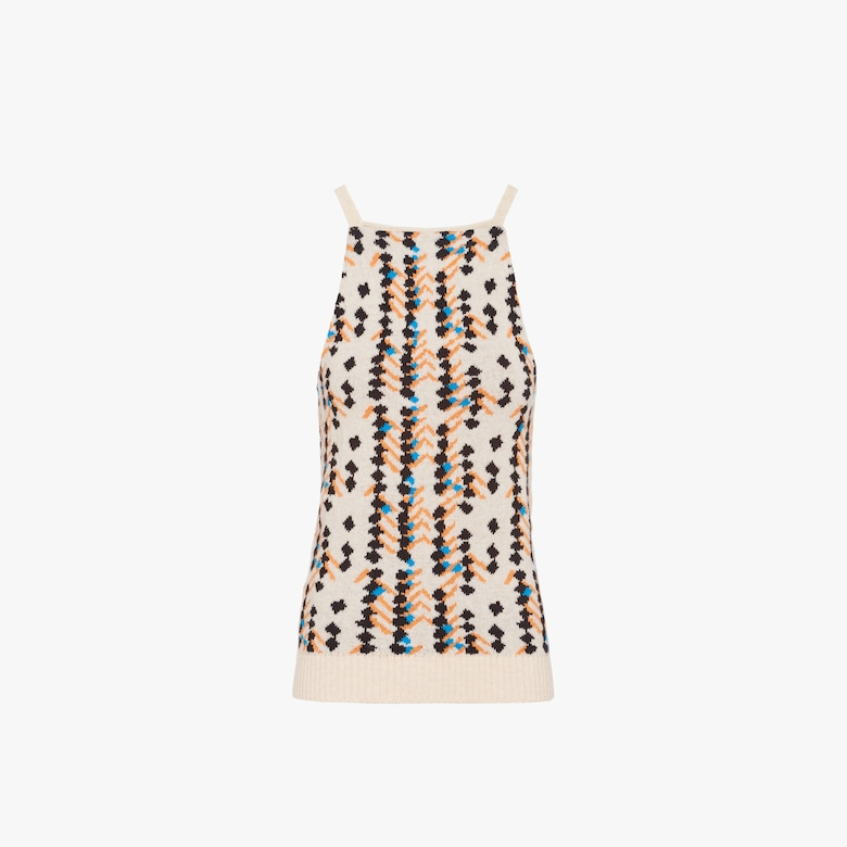 Lambswool tank top with Square motif