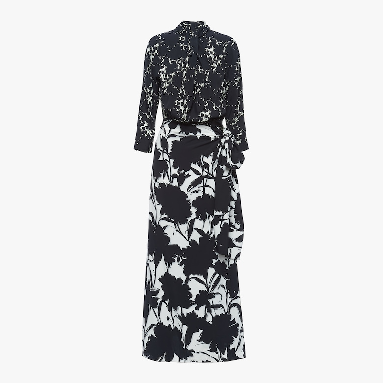 Fluid twill dress with carnation print