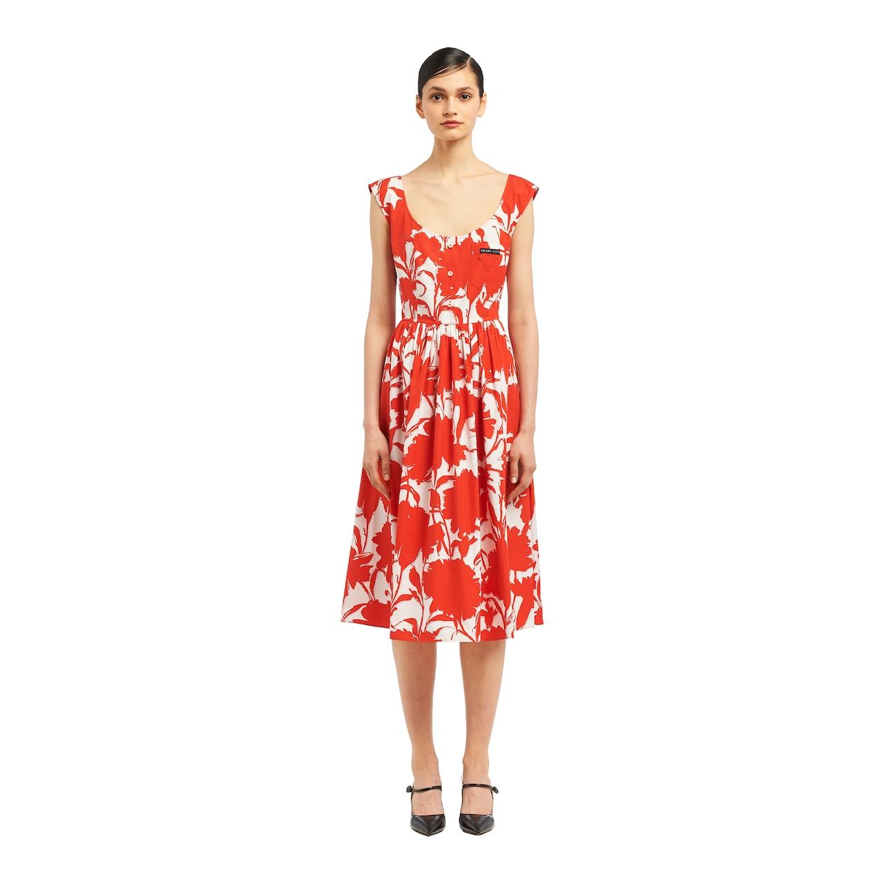 2acc43318 Vestido de popelina con estampado de clavel