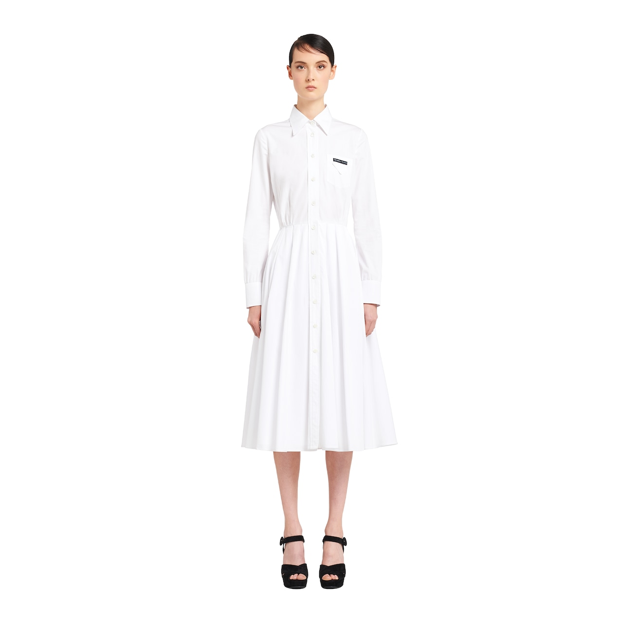 Robe chemise avec jupe plissée