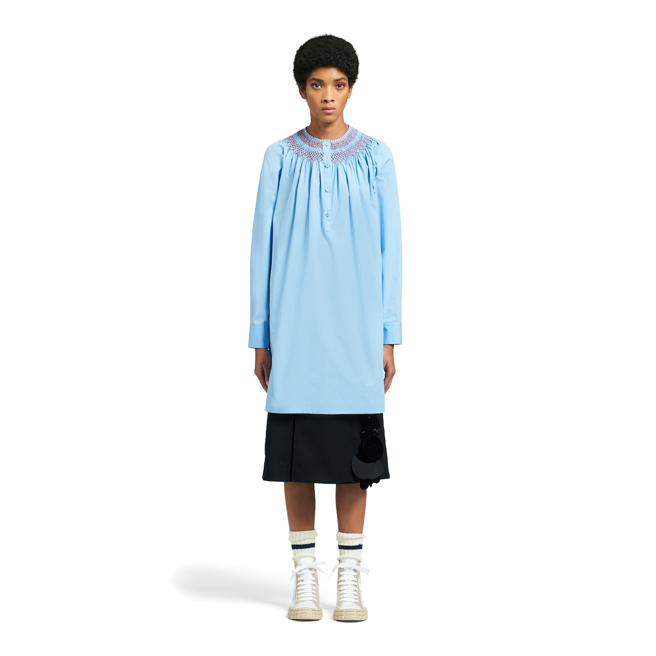 Prada Egyptian cotton popelin dress with embroidery 2