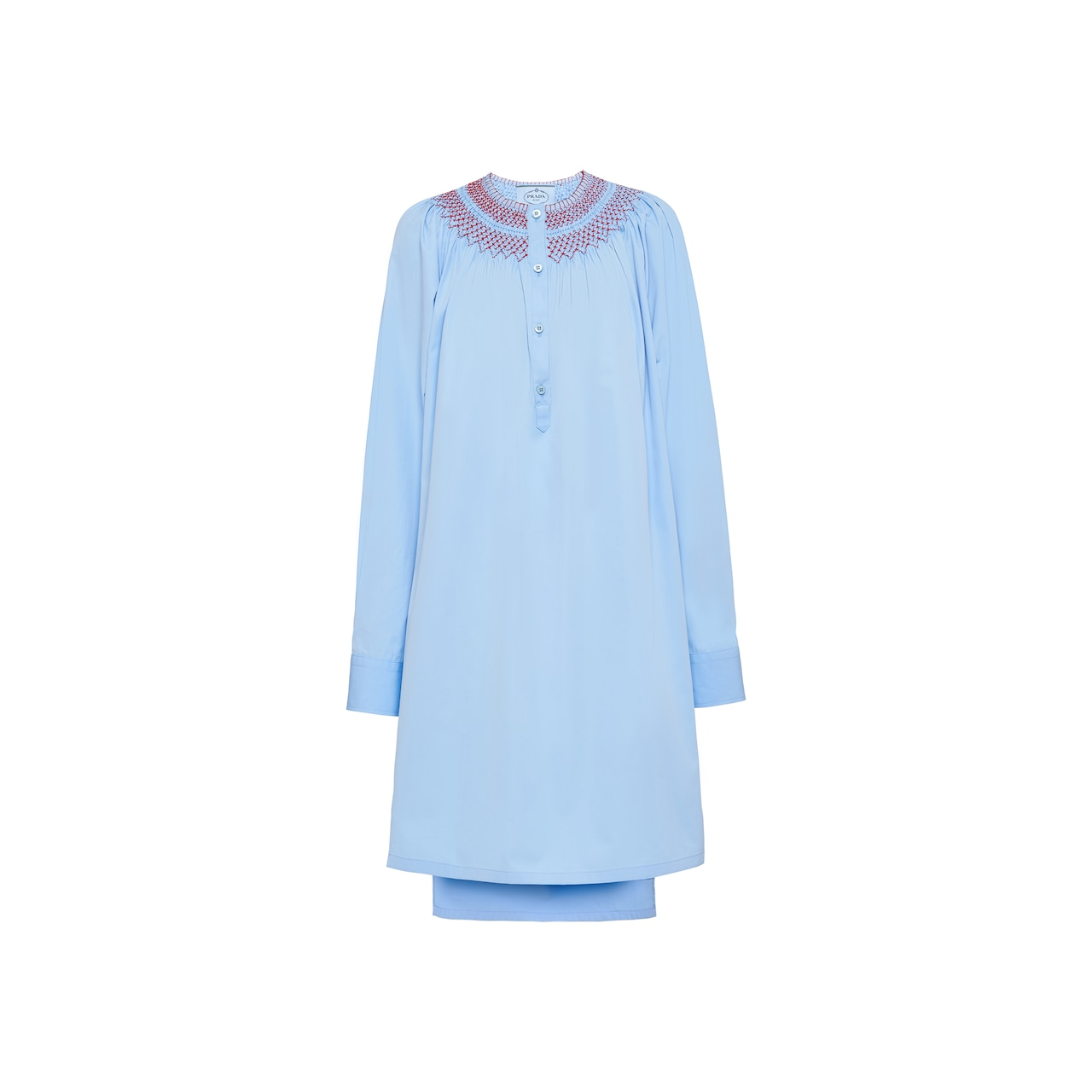 Prada Egyptian cotton popelin dress with embroidery 1