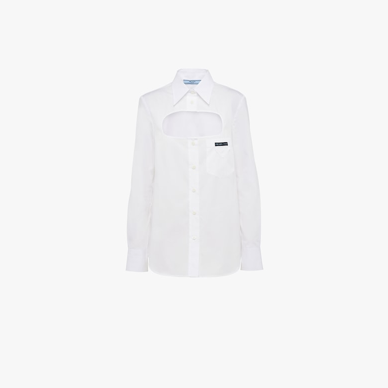 Poplin shirt with opening in front