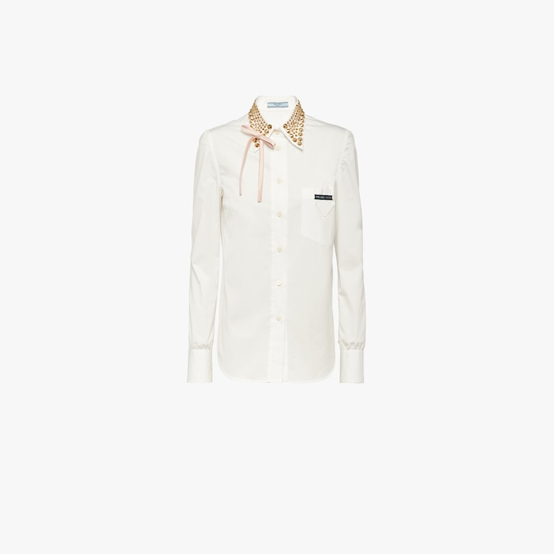 Compact poplin shirt with studs