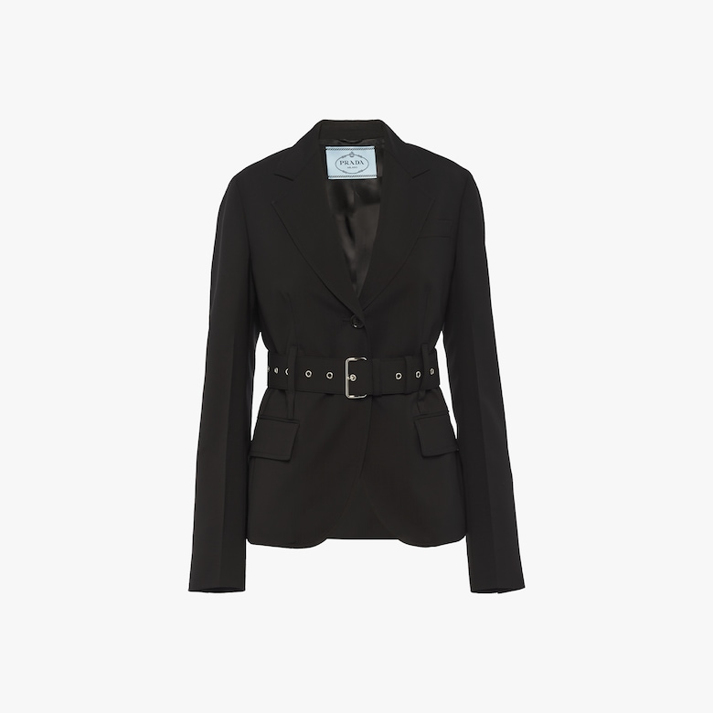 e132c9d49fc Single-breasted wool jacket with belt