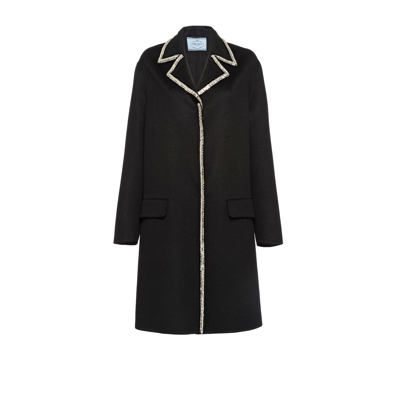 Wool and angora coat with embellishment