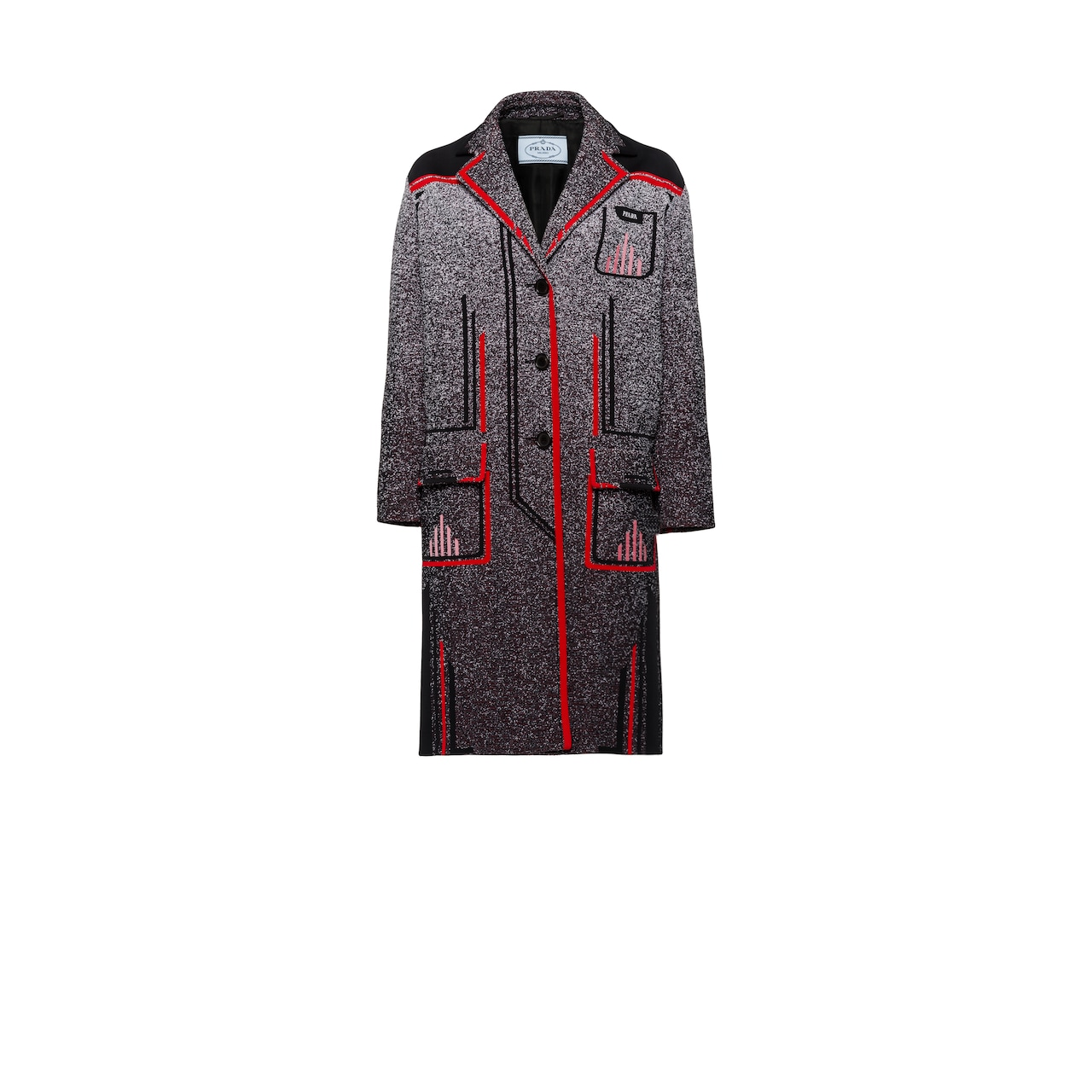 Technical mouliné jacquard coat