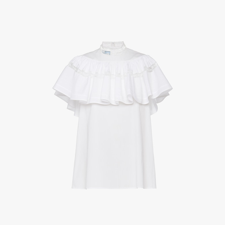 Prada Egyptian cotton poplin top with lace - Woman