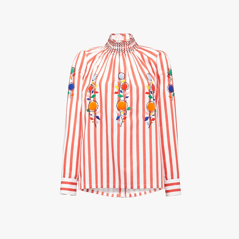 Prada Egyptian cotton popelin blouse with embroidery - Woman