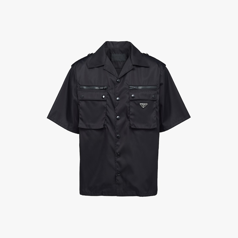 Nylon gabardine shirt with epaulettes