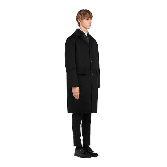 Wool coat with puffer jacket lining