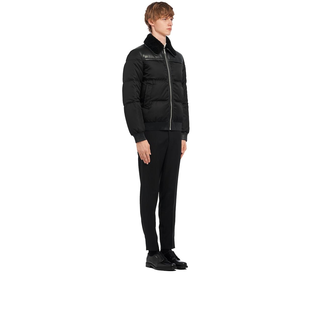 Nylon gabardine and leather puffer jacket