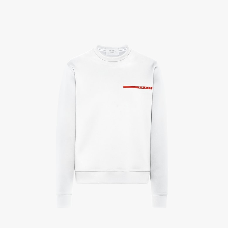 Double technical jersey crew-neck sweater