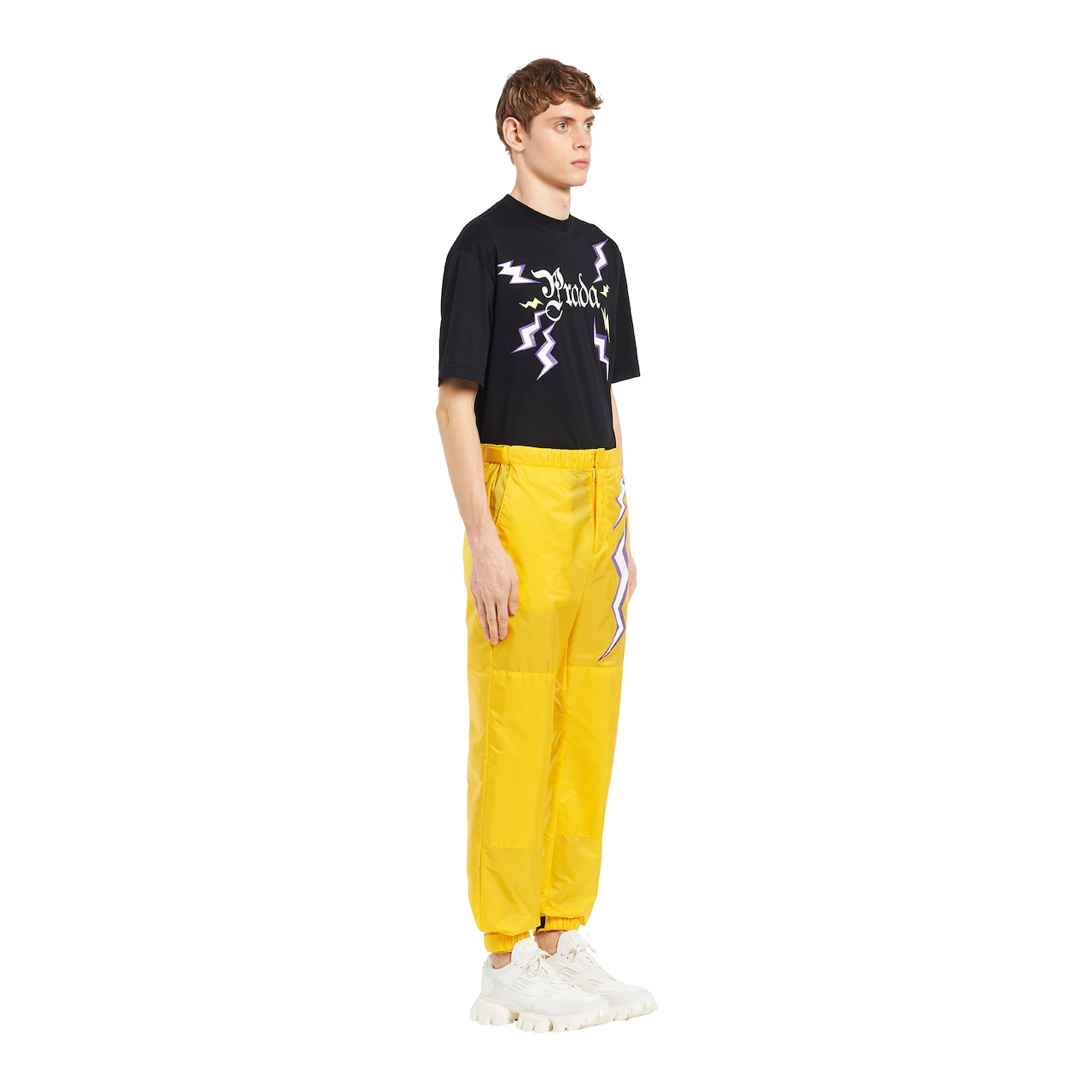 Printed nylon trousers