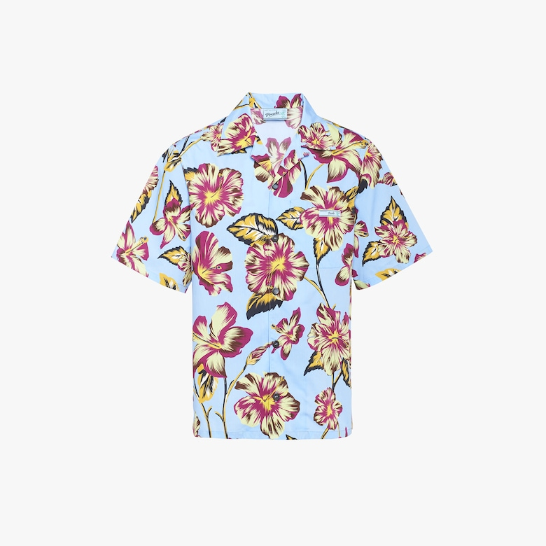Shirt with hibiscus print