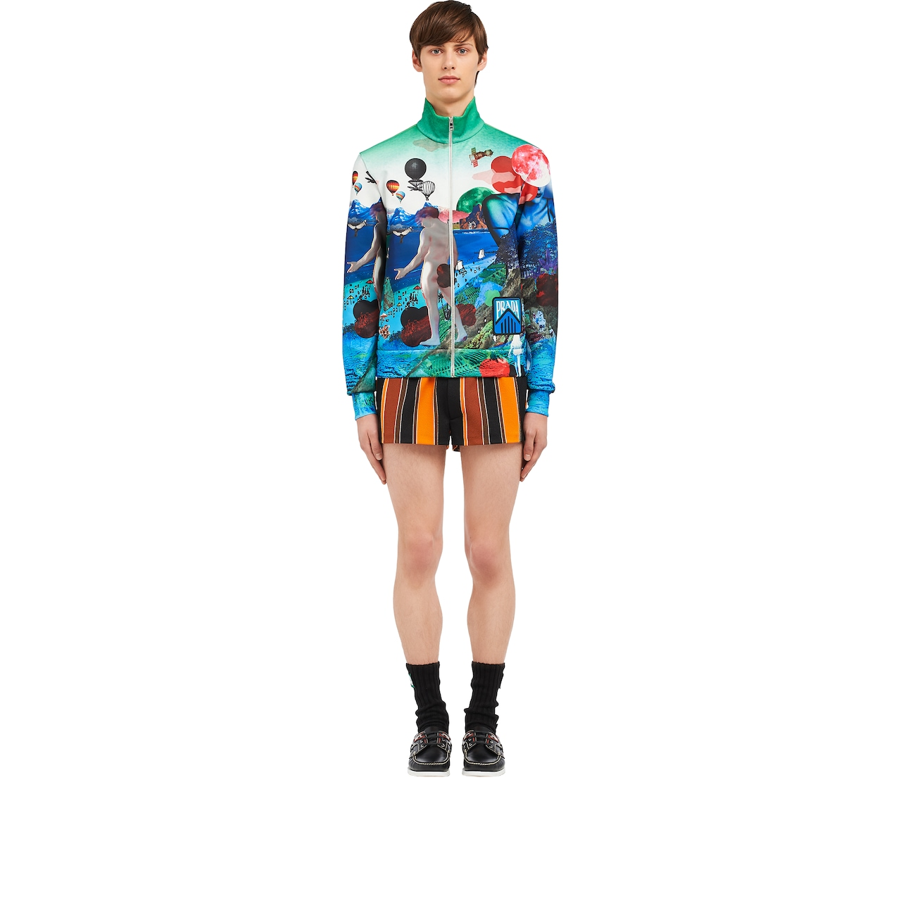Printed technical jersey cardigan