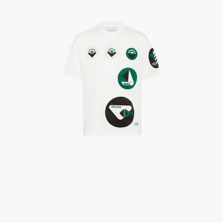 Cotton T-shirt with boat print