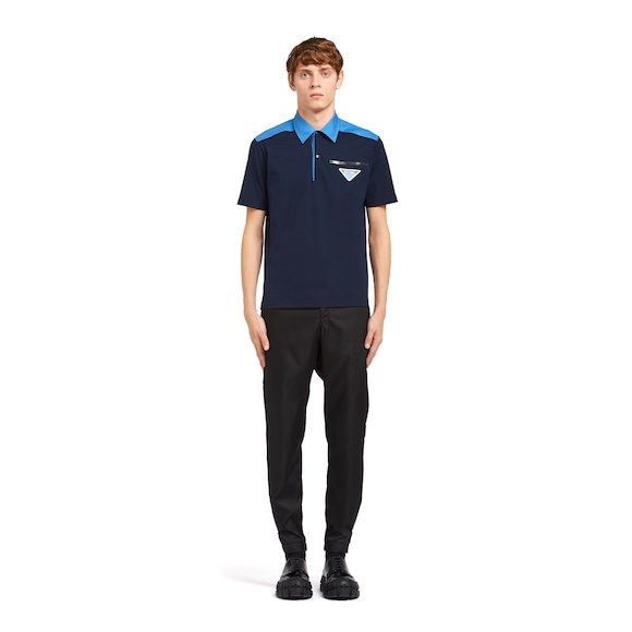 Cotton and poplin polo shirt
