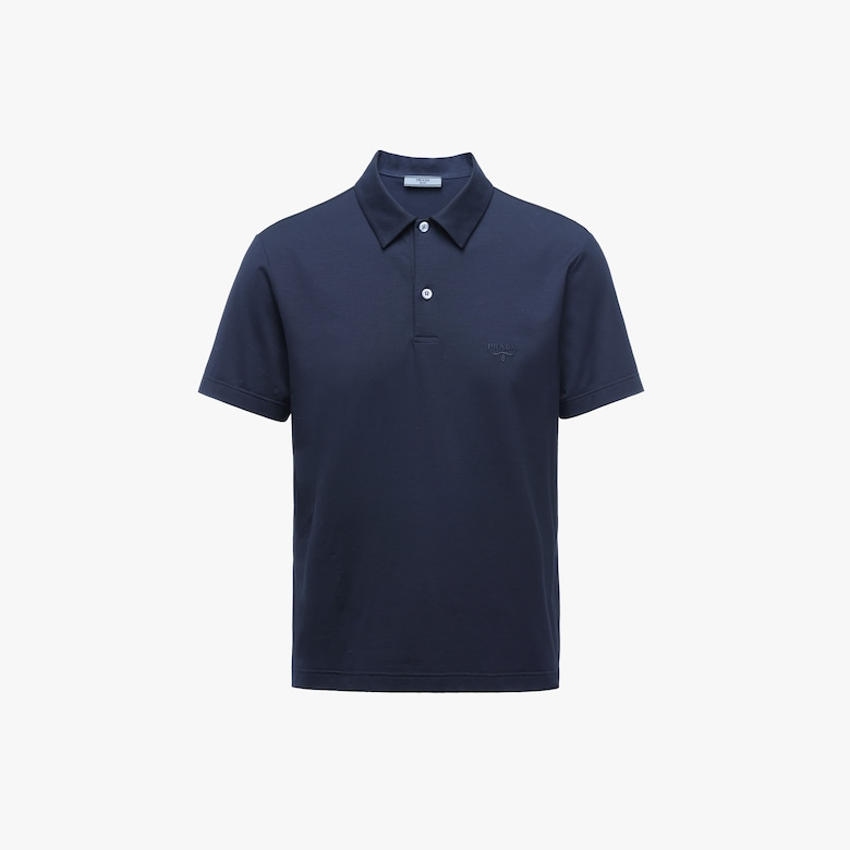 Prada Stretch cotton polo shirt with embroidered logo - Man