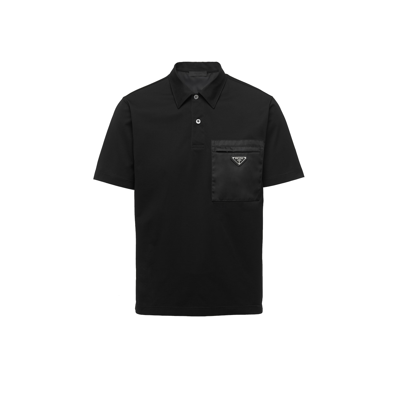 Short-sleeved stretch cotton polo shirt
