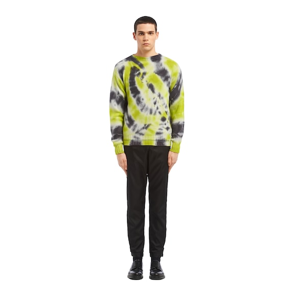Cashmere wool sweater with tie-dye motif