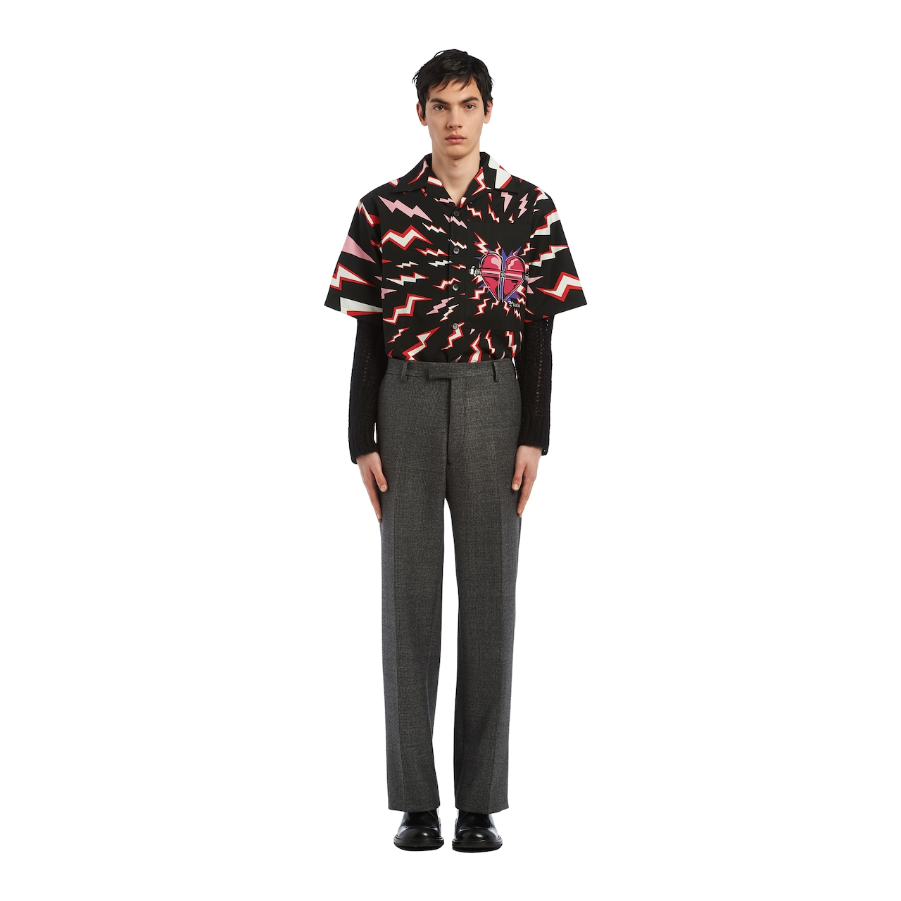 Compact mouliné Prince of Wales trousers