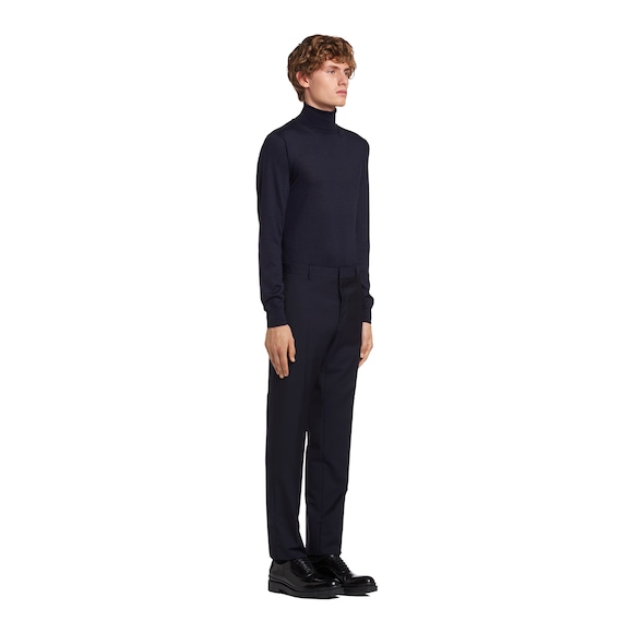 Slim-fit wool trousers