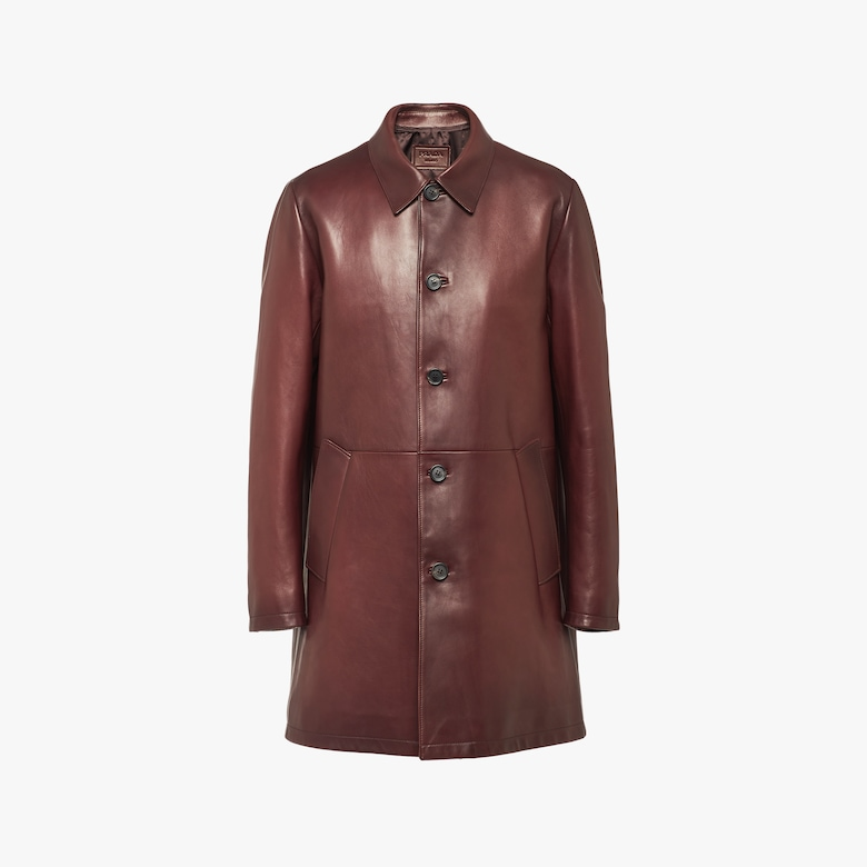 Waxed nappa leather coat