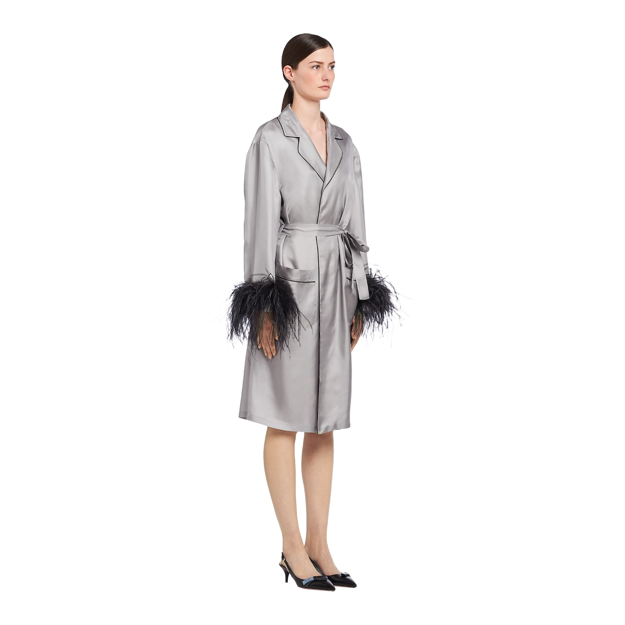 Silk coat with feathers