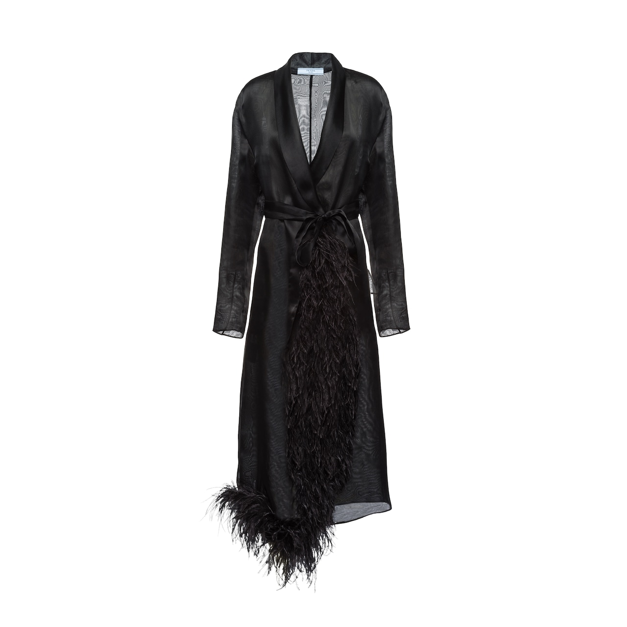 Organza coat with feather trim