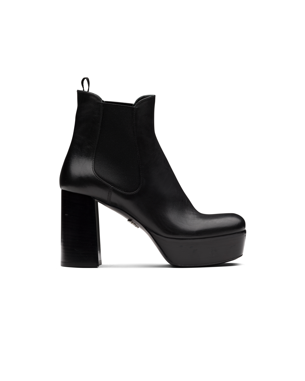 Leather platform booties | Prada