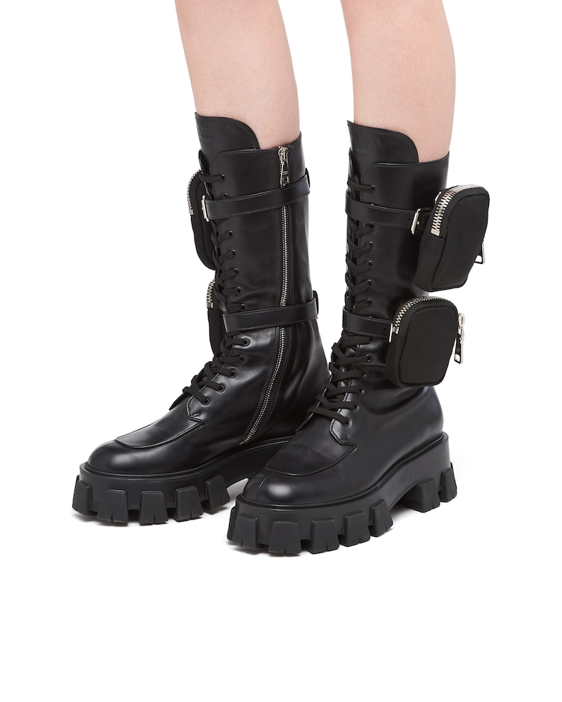 Monolith leather boots by Prada, available on prada.com for $1700 Kendall Jenner Shoes Exact Product