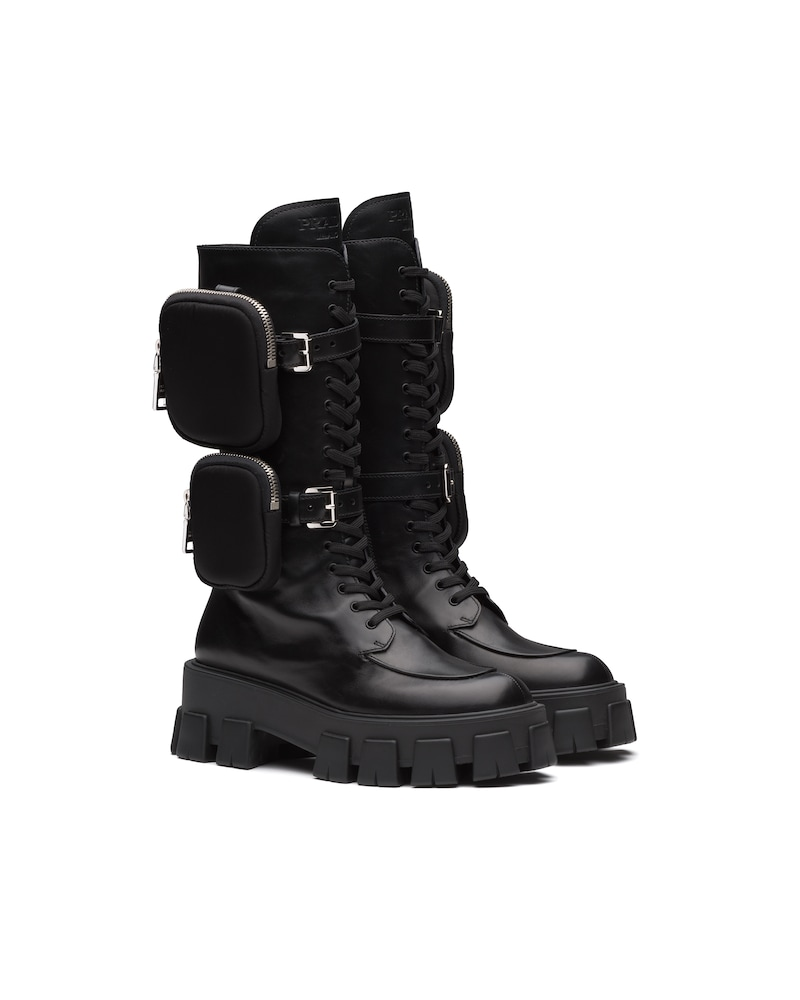 Monolith leather boots by Prada, available on prada.com for EUR1220 Kendall Jenner Shoes Exact Product