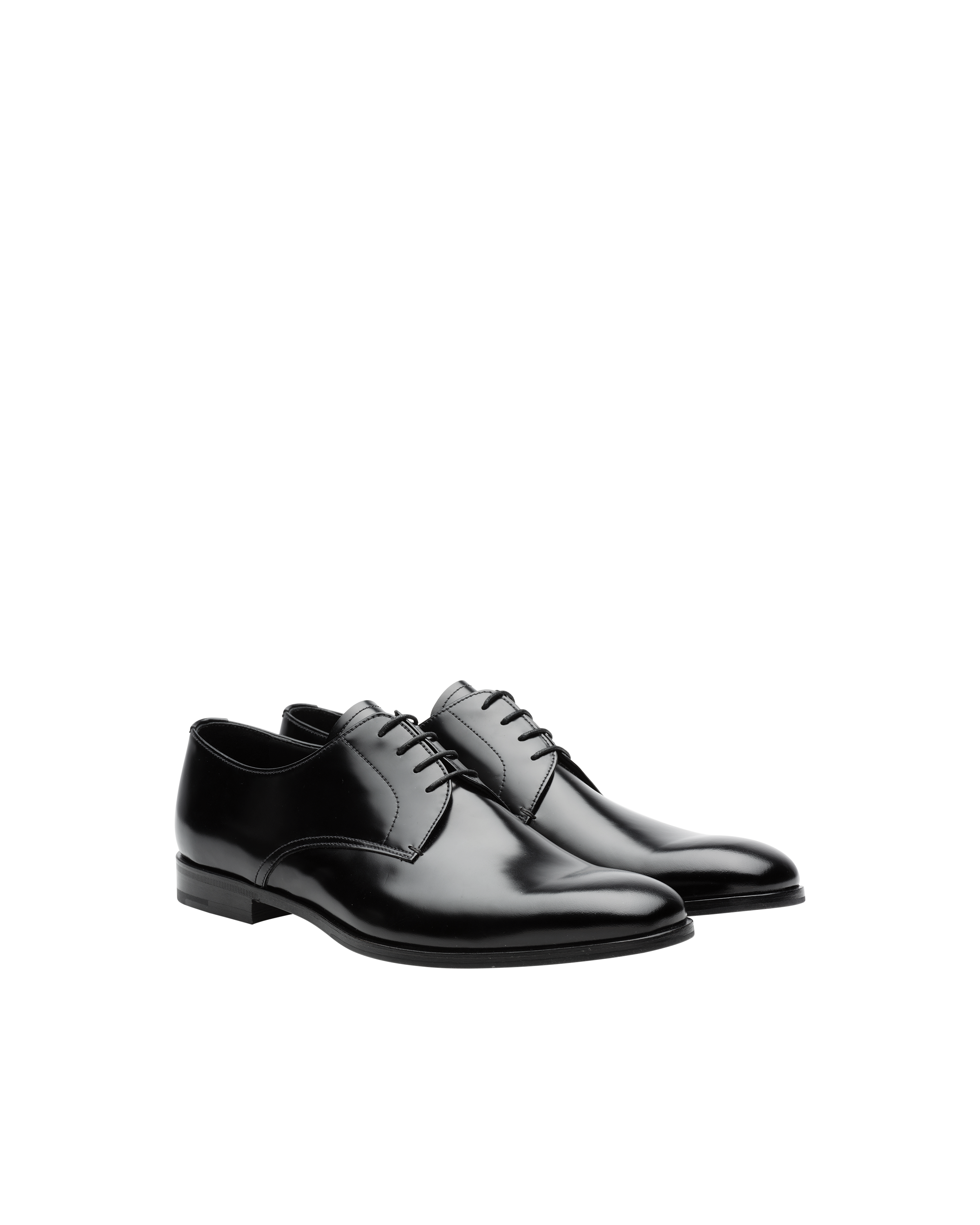 Brushed leather derby shoes | Prada